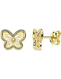 Iyé Biyé - Pendientes niña mujer mariposa calada 9x7 mm oro amarillo 18 ktes cierre presión