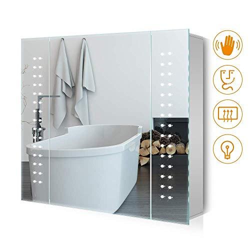 Panana Badzimmer Spiegelschrank mit LED Licht, Sensorschalter , Steckdose 65x60x11cm (HxBxT) -