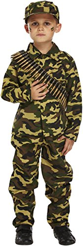 Jungen Camouflage Armee Kostüm 1. / 2. Weltkrieg Soldat 4-12 Jahre - Grün, 7-9 (Armee Kostüme Kinder Soldat)