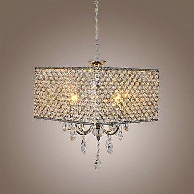 Modernes Luxuxart-Eisen-Pendelleuchte, Kristall-Hängendes Licht, Chrom Kristall Metall Lampenschirm-Decken-Lampe für Esszimmer, Küche-Insel-Kristallaufhebung-Lampe, 4 * E14 * 60W