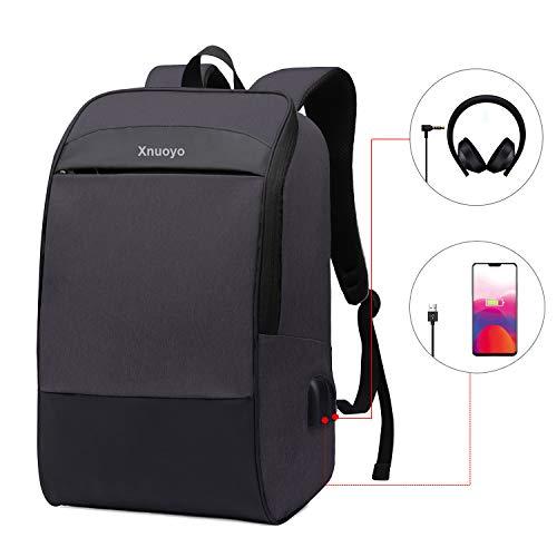Xnuoyo Wasserdicht 17.3 Inch Laptop Rucksack, Business Rucksack Damen Mit USB Ladeanschluss für Business Schule Reisen Frauen Männer (Schwarz)