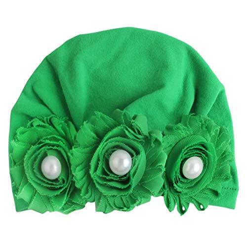 Onetek Soft Neugeborenes Baby Floral Pearl Design Mädchen Jungen Caps Baby Mütze Infant Turban Elastic Cap (Blume Perle Caps)