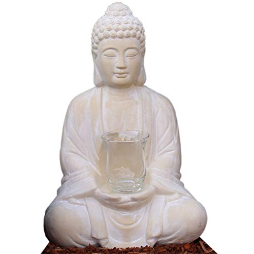 Dszapaci Buddha figure praying sitting 40 large cm with medveierende candle holder Budda Statue as living room decoration, ceramics, 40cm mit Windlicht
