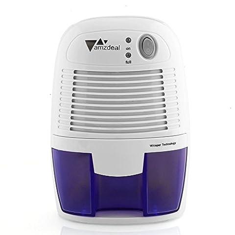 Amzdeal Déshumidificateur Electrique avec 500ML Réservoir d'eau pour Éliminer Humidité, Mini Déshumidificateur d'Air pour Cuisine, Chambre, Salles de Bains, Toilettes, Cabinet -