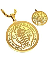 BOBIJOO Jewelry - Pendentif Médaille Ronde Collier Saint Benoît Protection  Acier Plaqué Or+Chaîne 0ae0753ac7f