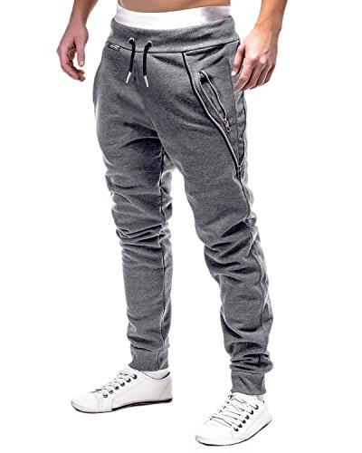 MODCHOK Homme Pantalon Jogging Bas de Survêtement Sweat Pants Sarouel Sport Slim Gris foncé M