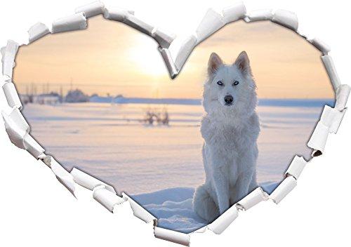 Weißes Ambiente Ist Die Kunst (Weißer Wolf im Schnee Herzform im 3D-Look , Wand- oder Türaufkleber Format: 92x64.5cm, Wandsticker, Wandtattoo, Wanddekoration)