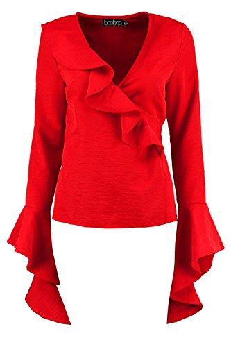 rouge Femmes Paige blouse à volants cache-cœur noué sur le côté Rouge