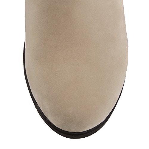VogueZone009 Femme Couleur Unie à Talon Correct Rond Tire Bottes Beige