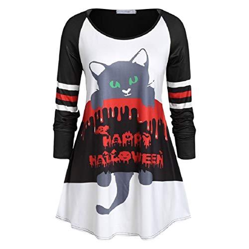 Bluelucon 2019 Happy Halloween Damen Halloween T Shirt Katze Cartoon Drucken Oberteile Lange Ärmel Rundhals Lose Pullover Tops Asymmetrische Tunika-Oberteil Tunic Top
