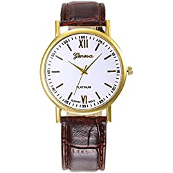WINWINTOM Roman Numerals Faux Leather Analog Quartz Wrist Watch Coffee