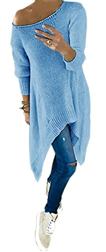 mikos-womens-plain-round-collar-long-sleeved-top-blue-one-size