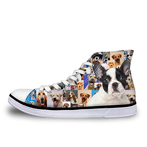 Nopersonality Boston Terrier Designer Lace up Baseball Shoes Womens Classic Canvas Sport Walking Trainers