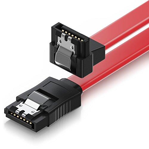 deleyCON 30cm SATA III Kabel S-ATA 3 Datenkabel Verbindungskabel Anschlusskabel für HDD SSD mit Metall-Clip - 6 GBit/s - 1x Gerade 1x 90° L-Type Stecker - Rot