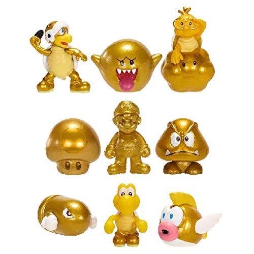 Nintendo - Micro Land - Gold Serie mit 9 Figuren (u. a. Mario, Bullet Bill, Boo, Goomba, Koopa)