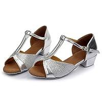 GACOZ Girl Latin Shoes, Training Waltz Rumba Samba Tango Ballroom Dance Shoes Sparkly Glitter Open Toe Comfortable Low Heel Shoes for Little/Big Kids Silver