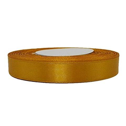 Satinband Schleifenband Satin Geschenkband Dekoband Rolle 12mm Breite gold-orange hellbraun warm gold indien (Satin Gold Sb)