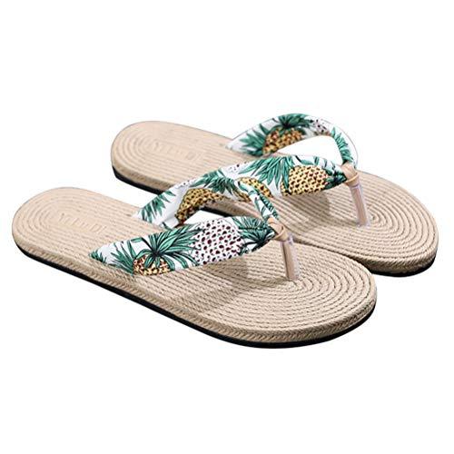TENDYCOCO Infradito Pantofole da Donna Imitazione Paglia Cunei Piatti Floreali Scarpe da Spiaggia da Viaggio Bohemian Outgoing Sandals (Bianco) Taglia 36