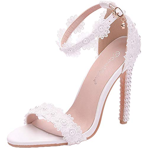ZPFME Dedding High Heels Damen White Sandals Pearl Damen Elegant Pumps Lace Ankle Strap Hochzeit Stiletto,White-EU36/230 Stiletto Heel Ankle Lace