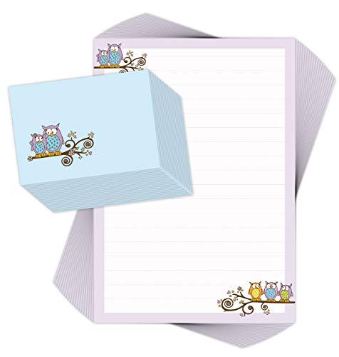 Briefpapier-Set für Kinder EULEN 20 Blatt DIN A4 mit Linien incl. 20 bedruckte Umschläge/Briefpapier für Kinder/Briefpapierset Kinder/Briefpapier Mädchen