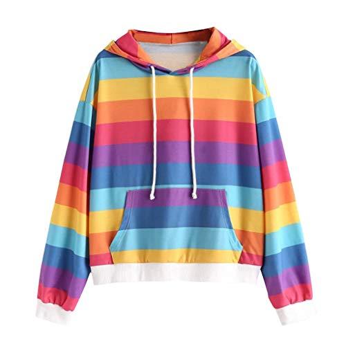 Deman outfit-Artistic9 Damen Plus Size Fleece Pullover Hoodie Regenbogen Streifen Langarm T-Shirt Tunnelzug Taschen Bluse Sweatshirt 2019 Herbst Casual Active Tee Chic