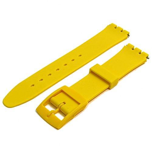 Kunstharz Uhrenarmband Band passt auf Standard Swatch 17mm gelb