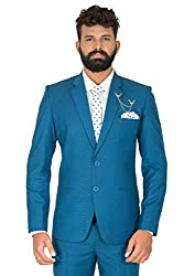 KapdaKing Mens Slim Fit Blue Blazer (with Pant Pcs. & Broach)