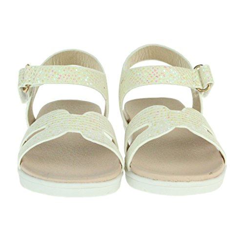 Filles Enfants Brillamment Plat Semelle coussinée Soir Mariage Fête Princesse Anniversaire Tous les jours Sandales Chaussures Taille Blanc