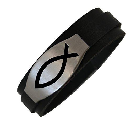 Leder Armband Gravur Fisch Glaube Kommunion Konfirmation Schwarz Geschenk Neu (17 Zentimeter)