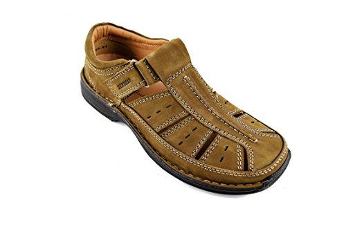 Zerimar Sandalias de Piel para Hombres Sandalias Trekking Zapatillas de Senderismo Color Moka Talla 44