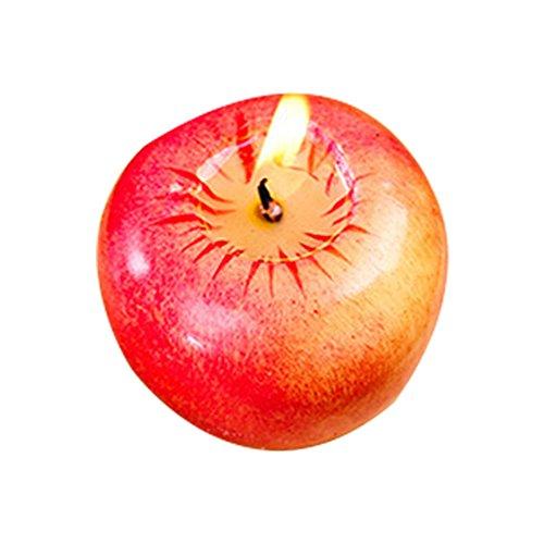 Hemore Rote Apfel-Geformte Kerze für Weihnachtsabend-Geburtstagsfeier-Hochzeits-Kerzen-Versorgungsmaterialien(7x7x6 cm) Möbelzubehör Wohnaccessoires