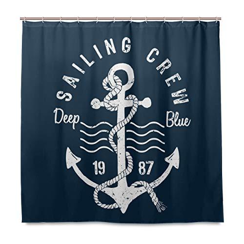 vinlin Ocean Sea Maritim Anker Muster Wasserdicht Badezimmer Zubehör Vorhang für die Dusche Badewanne Vorhang 182,9x 182,9cm