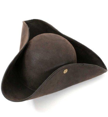 Pirata cappello marrone tricorno, similpelle, carnevale, bucaniere pirata