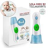 Lola Kids Thermomètre Frontal / 5 en 1 - Thermomètre Auriculaire Infrarouge - Indicateur De Température Dans Les Pieces Et Pour Les Liquides - Instructions En Francais