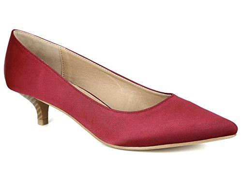 MaxMuxun Damen Slingback Kitten Absatz Pointed Toe Pumps Rot Größe 41EU