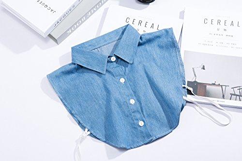 LK LEKUNI LeKuni Frauen Kragen Abnehmbare Hälfte Shirt Bluse in Baumwolle Weiß/Schwarz/Jeans Blue