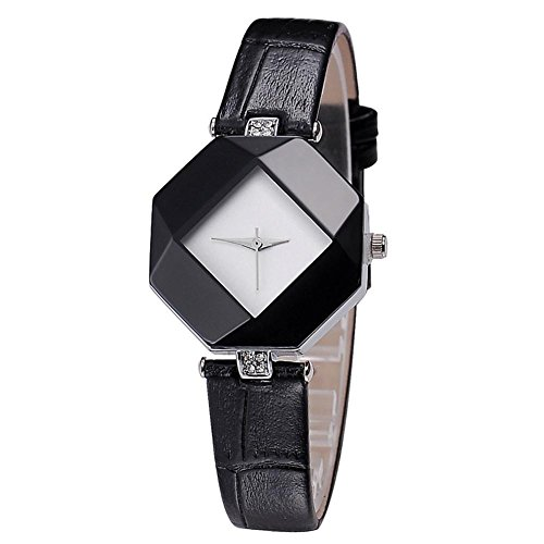 Temperamento semplice forma femminile Joker diamante qualità leather watch strap , black