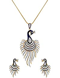 JDX American Diamond Gold Plated Pendant Set Without Chain For Women