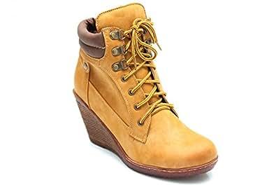 F10835Hn - Bottines de randonnée à lacets - talon compensé - femme - Miel - UK8 EU41