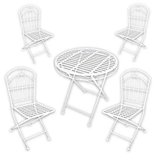 Metall Gartenmöbel SET - 1x Tisch 4x Stuhl 'White Spirit' in weiß lackiert für indoor und outdoor
