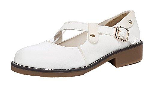 Rotondo Voguezone009 Colore Tira Cuoio Pu Leggere Scarpe Bianco Solido Basso Di Donna Tacco FAznwqdxqW