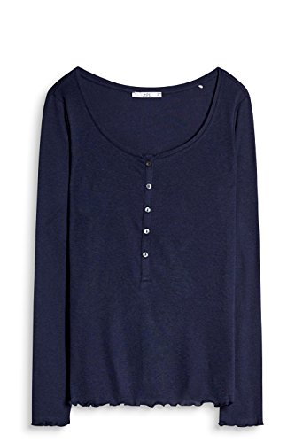 edc by Esprit T-Shirt à Manches Longues Femme Bleu (Navy 400)