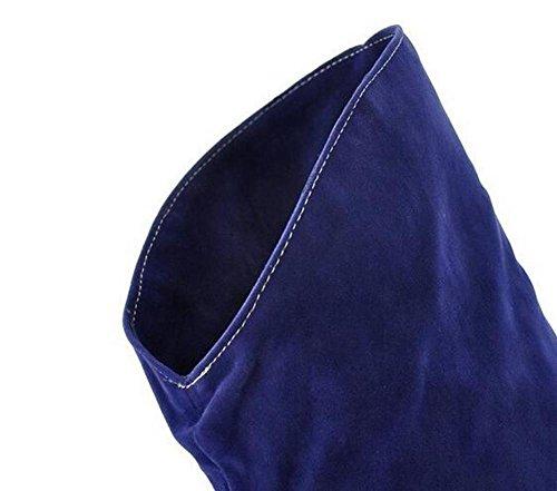 Beaqueen Maté PU sur le genou Bottes d'hiver haut en forme d'amande Pointe à talons hauts Talonnette décontractée Chaude Chaussures en cuir féminin Taille personnalisée Taille 34-47 brown (sanded)
