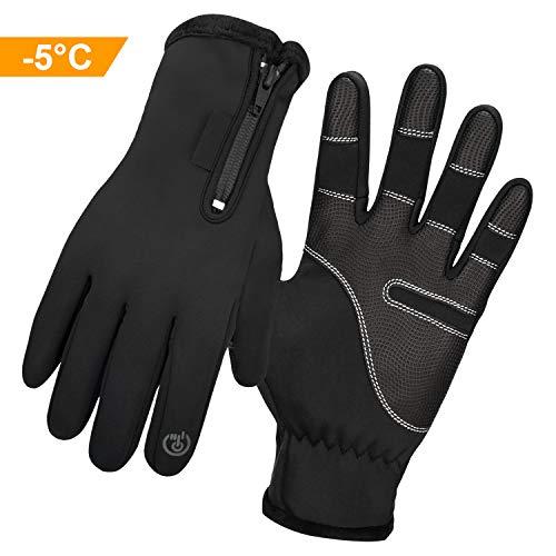 Kuyang Fahrradhandschuhe Männer Winter Fahrrad Handschuhe Touchscreen Handschuhe Motorrad Damen Laufhandschuhe Winddicht Cycling Sporthandschuhe Camping Wandern Outdoor Sports Handschuhen Schwarz