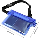 Becko Blue Waterproof Waist Bag Case Pouch for Kayaking, Sauna, Hiking, Surfing, Fishing, Boating, Skiing, Camping and Other Outdoor Sports. Triple Top Closure Strip Seal System Dry Bag Protect Mobile Phone, Camera, Watch, ID Cards, Wallet, Credit Cards, Room Card, Keys From Water, Sand, Dust and Dirt.