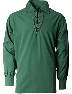Gents Deluxe Embroidered Scottish Ghillie Shirt In Green Antique Size Small
