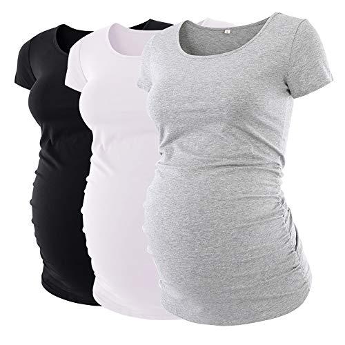 Liu & Qu Damen umstands klassische side ruched t-shirt tops mama schwangerschaft kleidung - Womens Side Ruched Top