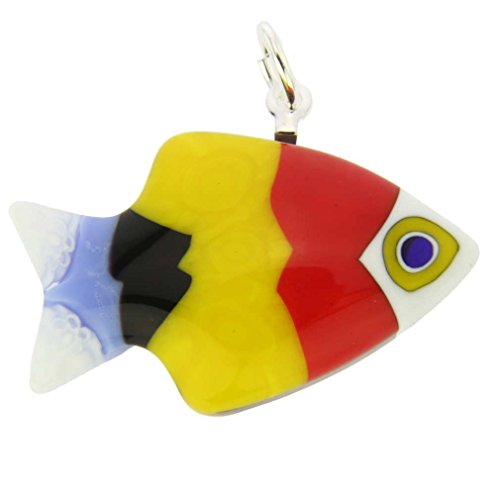 Murano Anhänger Beleuchtung (glassofvenice Damen Murano Glas Kleine Fische Anhänger)