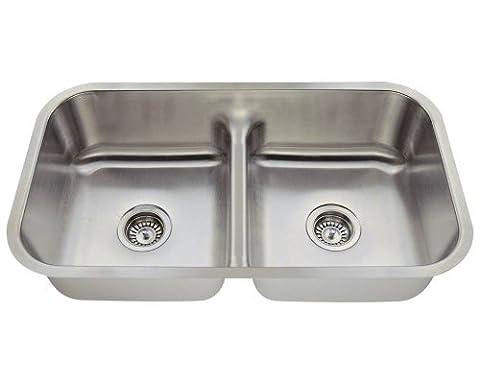 MR Direct 512 16-Gauge Undermount Half Divide Stainless Steel Kitchen Sink by MR Direct