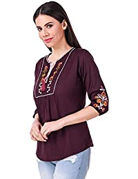 94327be613d40 Elyraa Women s Embroidered Western Cotton Top (Wine Color)